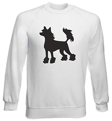 T-Shirtshock Rundhals-Sweatshirt fur Mann Weiss WES0577 Chinese Crested Hairless Dog Silhouette Chinese Crested Dog Sweatshirt
