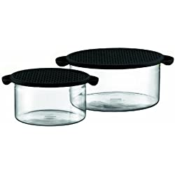 Bodum Hot Pot - Set de 2 fuentes de horno cristal borosilicato, 1 l + 2,5 l, con tapa de silicona de color negro