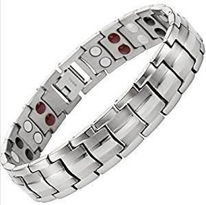 Drkao Magnetisches Herren-Armband Magnetarmband für Männer mit Geschenkbox Schmerzlinderung für Arthritis Karpaltunnel Magnetfeldtherapie Herren Damen Armband Edelstahl in Silberner Farbe