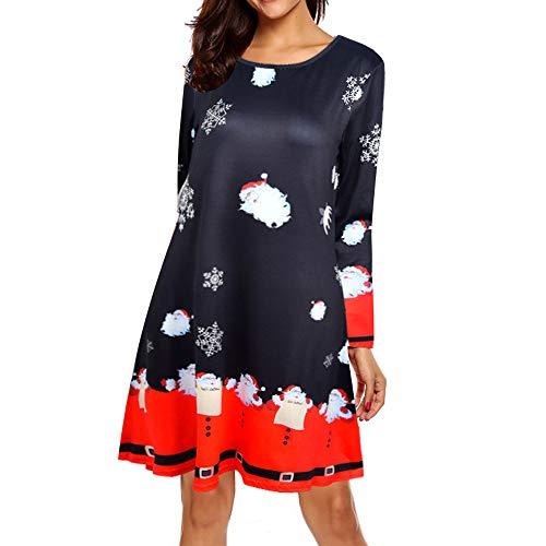 Kostüm Elf Weihnachtsgeschichte - VEMOW Heißer Elegante Damen Abendkleid Vintage Weihnachten Santa Gedruckt Kostüm A-Line Lose Beiläufige Tägliche Party Schaukel Kleid(X5-Rot, 40 DE/XL CN)