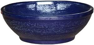 K/&K Pflanzschale Flach XXL aus frostbest/ändiger Steinzeug-Keramik blau 80.0x24.0 cm