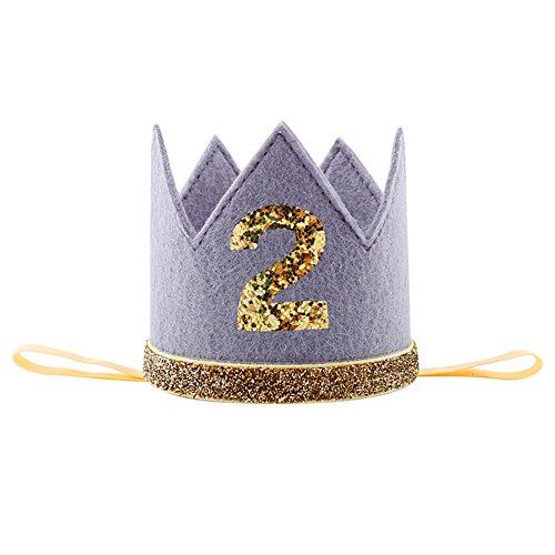 Luerme Baby Geburtstag Hut Prinzessin Hut Krone Kopfschmuck Partyhüte (Dunkelgrau)