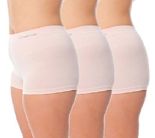 chaffree Anti Scheuern–Damen Boxer Slip, 3Pack | Arctic weiß Farbe | Midi | Multisize kleinen 2x l | Damen Unterwäsche Boy Shorts Gr. S/M, Weiß (Arctic - Briefs-pack Leistung Boxer