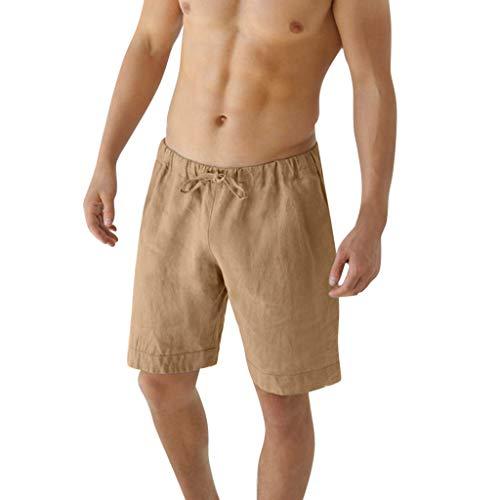 Cord Petite Jeans (GreatestPAK Mens Sommer Baumwolle Kurze Hosen Normallack Leinen Drawstring 1/2 Strand-Shorts,Khaki,EU:XS(Tag:M))