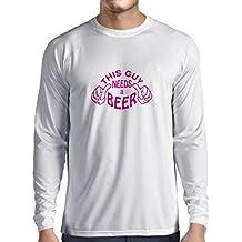 Camiseta de Manga Larga para Hombre Este individuo necesita una cerveza - regalos para los amantes de la cerveza