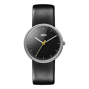 Braun Ladies Quartz 3 Hand Movement Watch with Black Leather Strap
