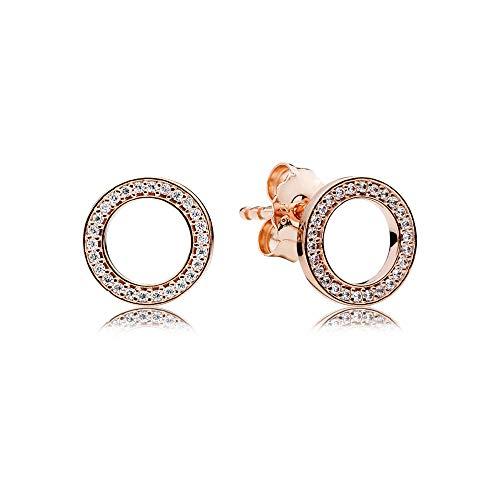 Pandora Damen Rose Funkelnder Kreis Ohrstecker 14 Karat rosévergoldete Metalllegierung, Cubic Zirkonia 280585CZ