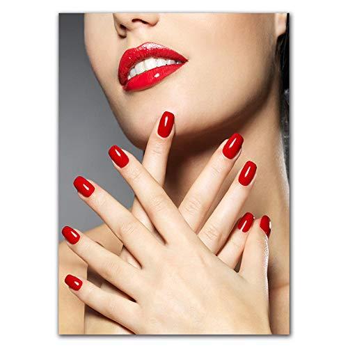 Leinwand kunst malerei nail art mädchen zimmer hause nail shop dekoration poster 80x100cm (Zebra-zimmer-dekorationen)