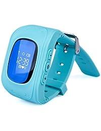 Neelam® I9Real OLED Kids Smart reloj de muñeca para sistema GPS GPRS GSM con libras + GPS Rastreador de GPS/Alarmas de Seguridad Seguridad De Los Niños apagado/SOS/podómetro/Audio de vigilancia Monitor Remoto/Mando a Distancia//Bluetooth Anti-lost para niños (Azul)