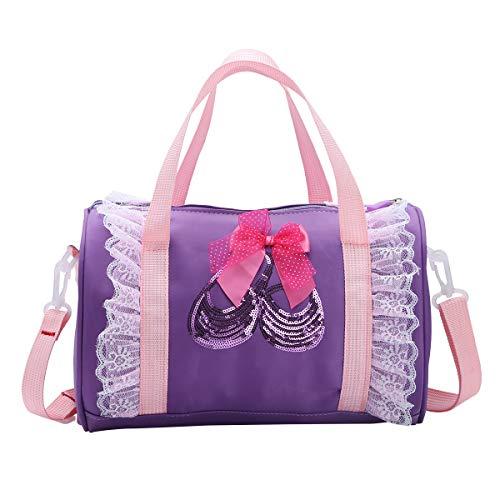 FEESHOW Mädchen Tanztasche Ballett Sporttasche Schultertasche mit Pailletten und Spitzen Rüschen Handtasche Pink/Rosa/Violett Violett One Size