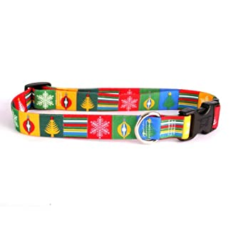 """Christmas Blocks Dog Collar - Size Extra Small 8"""" to 12"""" Long - Made In The USA 10"""