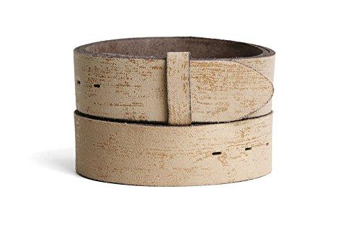 VaModa Ledergürtel Jeansgürtel Belt, Nassau beige, Länge=80cm, Druckknopfverschluß, ohne Schließe