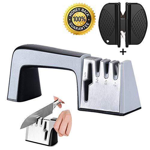 Affilacoltelli professionale manuale - affilatore coltelli cucina a 3 fasi con base antiscivolo, affila coltelli professionali, ripara forbici rapidamente (4 in 1, nero)
