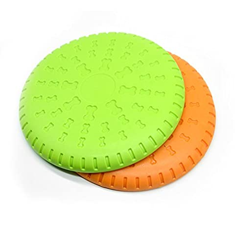 Kuole Hunde Frisbee, Gummi Flyer DOG Flying Disc Spielzeug, 22,9cm groß orange & grün (2Pack)