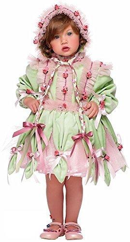 Italian made Super Deluxe Baby & Kleinkinder Mädchen grün Blume Fee Garten Pixie Festzug Prinzessin Kostüm Kleid Outfit 1-3 Jahre - Grün, 1 year (Pixie Kostüm Für Kleinkind)