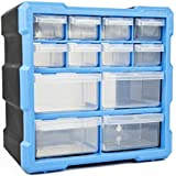 TekBox DIY Tool Bits Storage Organiser Unit - Workshop Screws and Small Parts Cabinet or Office Stationary Craft Box (12 Drawer)