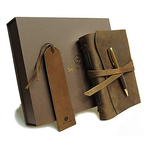 Leder Tagebuch Geschenk Set mit Antik Leder Lesezeichen + Stift, handgefertigt Schreiben Notebook...