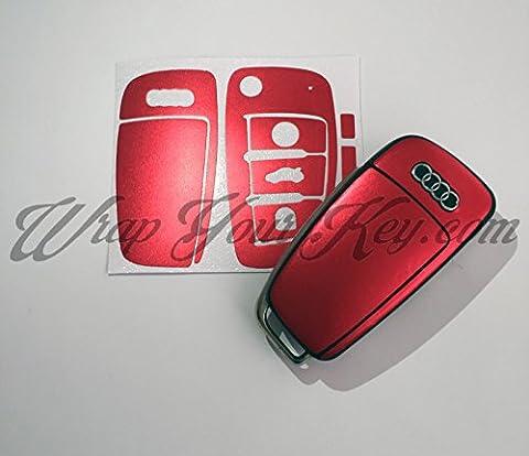 Rot Satin Chrom Schlüssel Wrap Cover Haut Audi Fernbedienung A1A3A4A5A6A8TT Q3Q5Q7