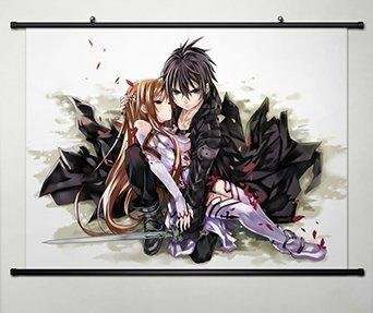 Sword Art Online Home Decor Anime Cosplay Wall Scroll Poster Kirito & Asuna 23,6x 17,7inches-013 (Adult Online Anime)