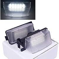 VIGORFLYRUN PARTS LTD 2pcs LED Luz de Matrícula Número de Licencia Plate Lámpara de Luz para T-iida Livina Versa For Skyline V36 G35 G37 350Z, 18 LED Canbus ...
