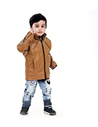 Comfort Zonee Stylish and Trendy Creme Faux Leather Jacket for Kids (Boys)