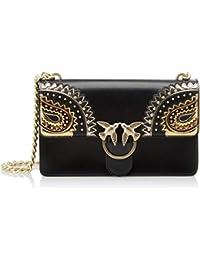 Pinko - Love Paislay Tracolla Vitello Seta Cachemire, Shoppers y bolsos de hombro Mujer, Negro (Nero Limousine), 7x17x27 cm (W x H L)