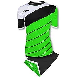 Zeus Kit Lybra Equipaciòn para el Fùtbol y el Voleibol Para Hombre Sport Pegashop Colour Verd Fluorescente-Negro-Blanco (M)