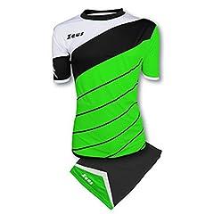 Idea Regalo - Kit Zeus Lybra Uomo Verde Fluo-Nero-Bianco Completino Completo Calcio Calcetto Torneo Scuola Sport Training Volley Pegashop (M)