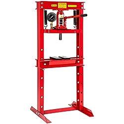 tectake 401670 Presse d'atelier Pompe hydraulique 12 tonnes Forces, Poids: 60kg, manomètre intégré