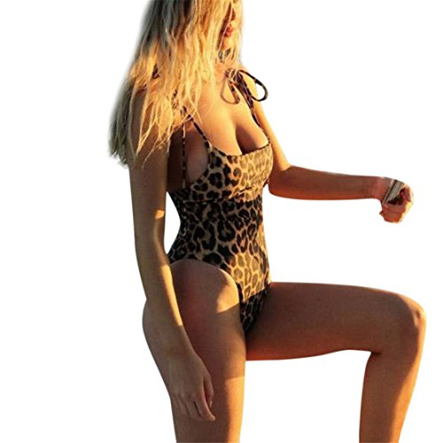 Danmen Sling Monokini Leopard Bikini Braun , Loveso One Piece Frauen O Hals Thong Bikini Monokini Badeanzug Bademode Bade Beachwear (M, Braun) -