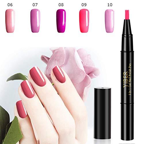MOGOI 5 Color One Step Gel Nail Polnischer Pen, No Base Top Coat Need, Soak Off UV LED Nail Lack Nail Art Kit (2#) ()
