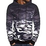 QinMM Herren Langarm Camouflage Hoodie mit Kapuze Sweatshirt Top Tee Outwear Bluse Herbst Winter Outwear (2XL, Grau)