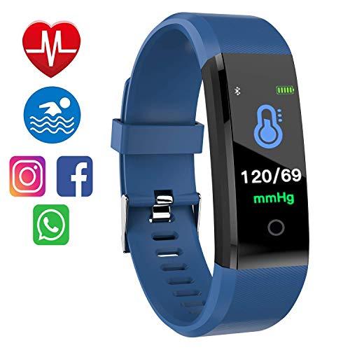 M8M Fitness Tracker, Fitnessarmband, Blutdruckmessgerät, Pulsmesser, wasserdicht, IP67, für Kinder, Schrittzähler, für iPhone Android iOS, Unisex - Erwachsene, blau, 0.96 pollici
