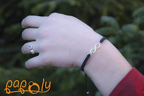 Imagen de papoly® pulseras de macramé con doble linea de bolas de plata de ley 925 medida facil de ajustar con cierre de hilo macrame hecho a mano. mc infiniti negro  alternativa