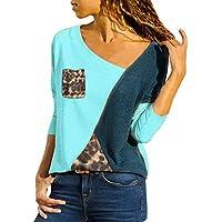 LILICAT✈ S-XXXXXL Tallas Grandes para Mujer Cuello asimétrico Bolsillo Color Block Leopard Camisetas Rojo, Blanco, Azul, Amarillo