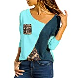 IZHH Plus Size Damen Shirt, Fashion Asymmetric Neck Patch Leopardenmuster Tasche Farbe Block Leoparden T-Shirts Damen Langarm Stitching Diagonal V-Neck Top(Blau,XXXX-Large)