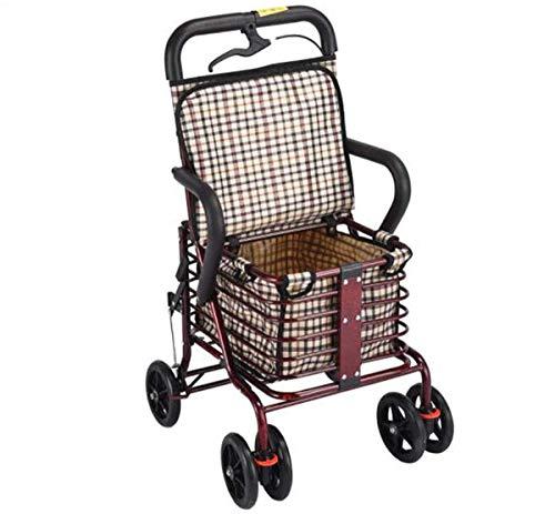 YANWE Einkaufstrolley Klappbar,Aluminium-Vierrad-Rollator-Gehhilfe,Sitz & Einkaufskorb, Leichtes Zusammenklappen - Vierrädriger Einkaufswagen für ältere Menschen,Mit Sofortbremse