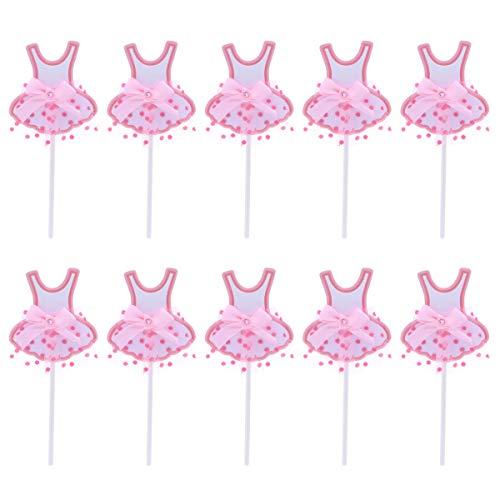 sinnen Tutu Rock Kuchen Cupcake Picks Sticks für Hochzeit Baby Dusche Geburtstag Party Dekoration Rosa ()