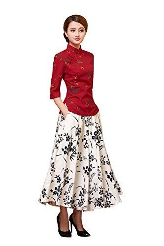 YueLian Damen Frauen Herbst Halfärmlig Qipao Stil Bluse mit druckte Muster Farbe 6