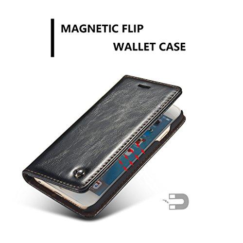 Apple iPhone 6/iPhone 6S Hülle - Kartenfächer, Brieftasche Combo Stützung Magnetische Adsorption Glätten Schutzhülle für Apple iPhone 6/iPhone 6S - Braun Schwarz