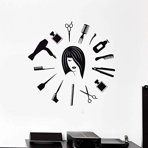 Friseursalon Werkzeuge Friseur Weibliche Designer Vinyl Wanddekor Kunst Wohnkultur Wandbild Wandaufkleber Abnehmbare 57x60 cm