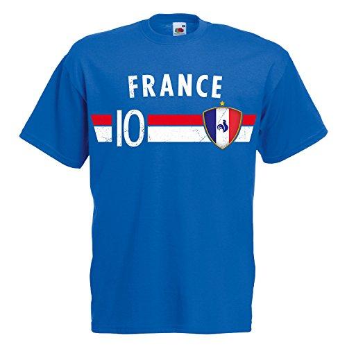 Fußball WM T-Shirt Fan Artikel Nummer 10 - Weltmeisterschaft 2018 - Länder Trikot Jersey Herren Damen Kinder Frankreich France S