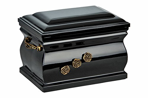 Black Composite Casket Shape with Brass Roses Funeral Cremation Ashes Urn for Adult (507)