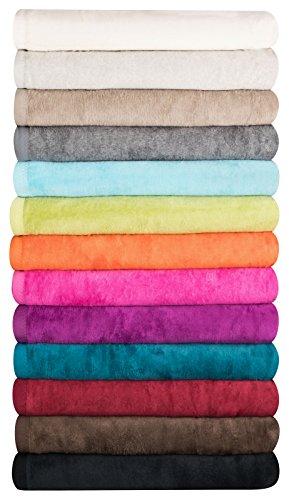 MOON Luxus Wolldecke 60% Baumwolle 40% Acryl Sofaüberwurf Kuscheldecke Wohndecke (150x200, grau)