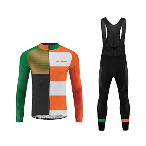 Uglyfrog Frühling/Herbst Männer Radfahren Kleidung Set Fahrrad Anzug Outdoor Langarmtrikot+ Hose Atmungsaktiv Schnell Trocken DEMIX01