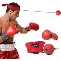 Nowus Reflex-Ball, Fight Ball Reflex-Schnur mit Kopfband für Geschwindigkeit, MMA, Training, Erwachsene/Kinder mit Lochung, Sport, Übung, Fitness Elastic Seilen, mit Kappe