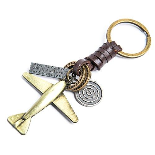 AuPra Flugzeug Schlüsselanhänger Aus Leder | Mode Friendship Vintage KeyChain Geschenk | Neuer Stil Schlüsselring | Kreativer Personalisierter Geschenk-Schlüsselanhänger für Frau und Mann -