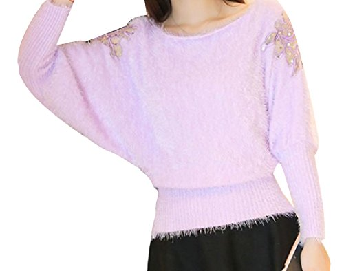Tootlessly-Women Solid Batwing Sleeve Fluffy Casual Knitwear