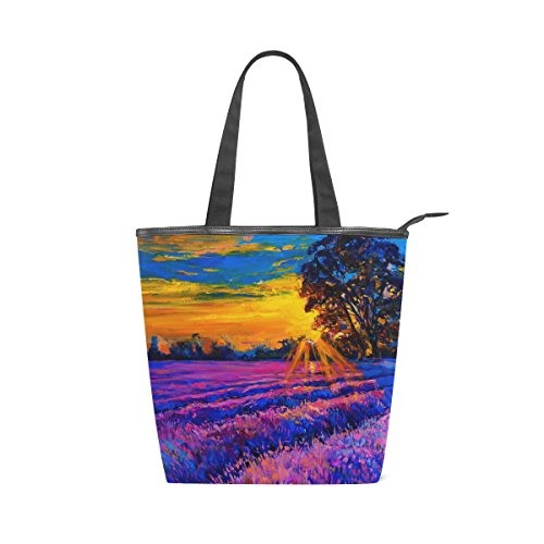 Jeansame Einkaufstasche aus Segeltuch mit Tragegriff, Schultertaschen mit Reißverschluss, Vintage-Design mit Sonnenuntergang, Blumen, Lavendel, Ölgemälde - Lavendel Vintage Handtasche