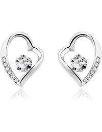 J&F - Pendientes de mujer corazón con cristal Swarovski Crystal, bañado en rodio